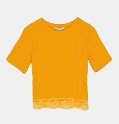 RIBBED T-SHIRT WITH LACE HEM
