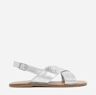 CHARLES & KEITH SILVER CROSS-STRAP SLINGBACK SANDALS (2)