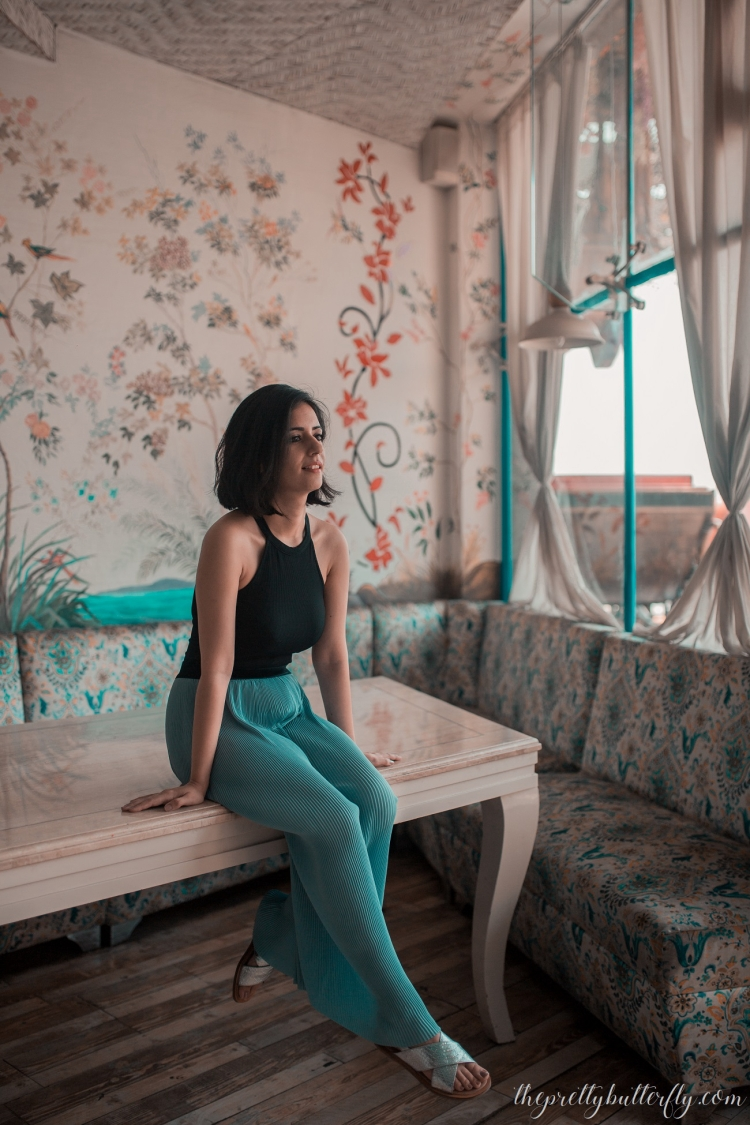 ZARA DUSTY BLUE CULOTTES & BLACK BODYSUIT-3 (3)
