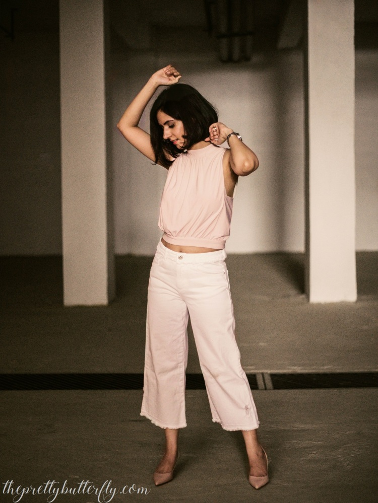 ZARA CULOTTES WITH FOREVER NEW HIGH NECK CROP TOP 3