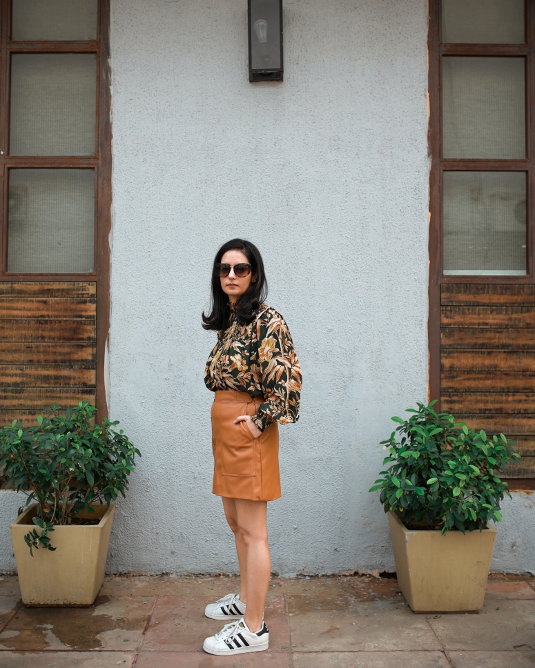 faux leather brown skirt & dark floral top 2