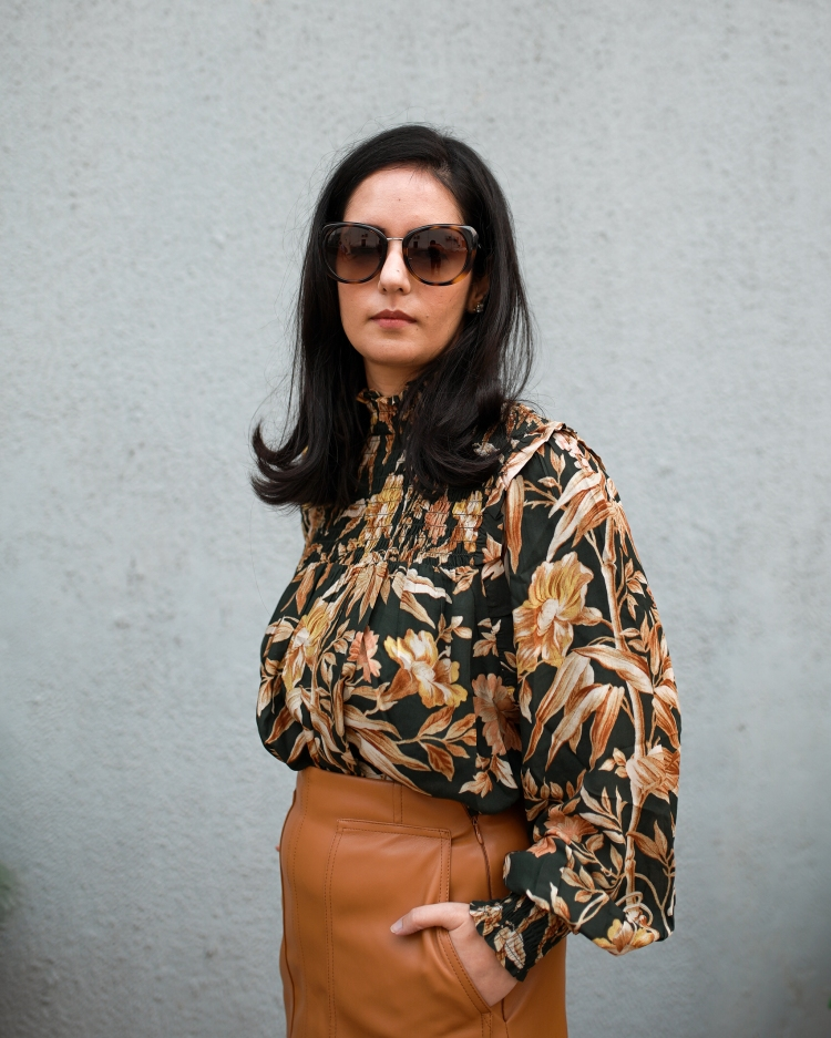 faux leather brown skirt & dark floral top 3