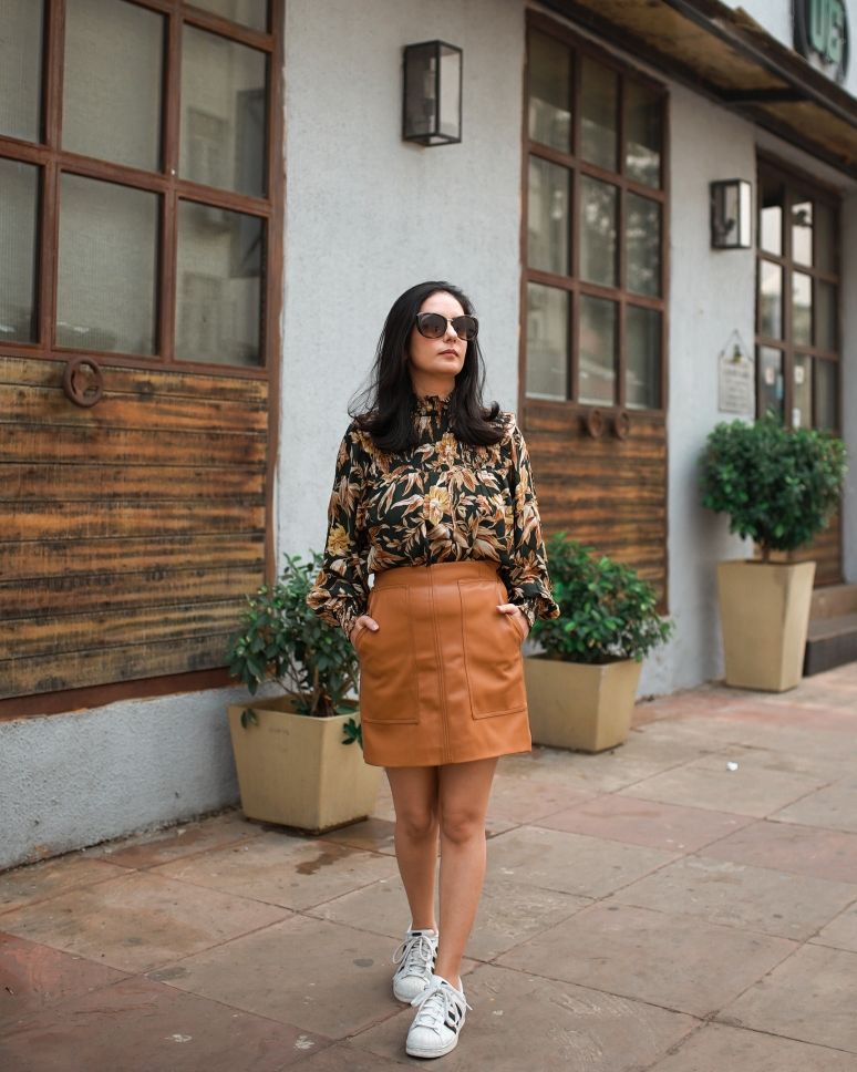 faux leather brown skirt & dark floral top 4