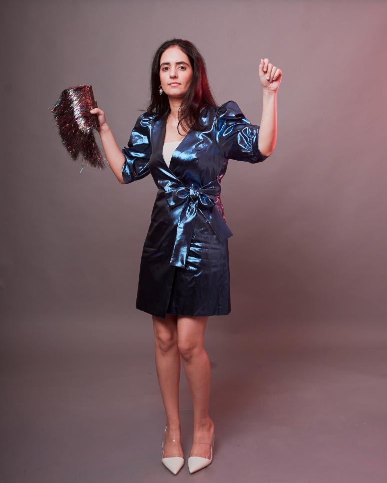 blue metallic dress zara 2