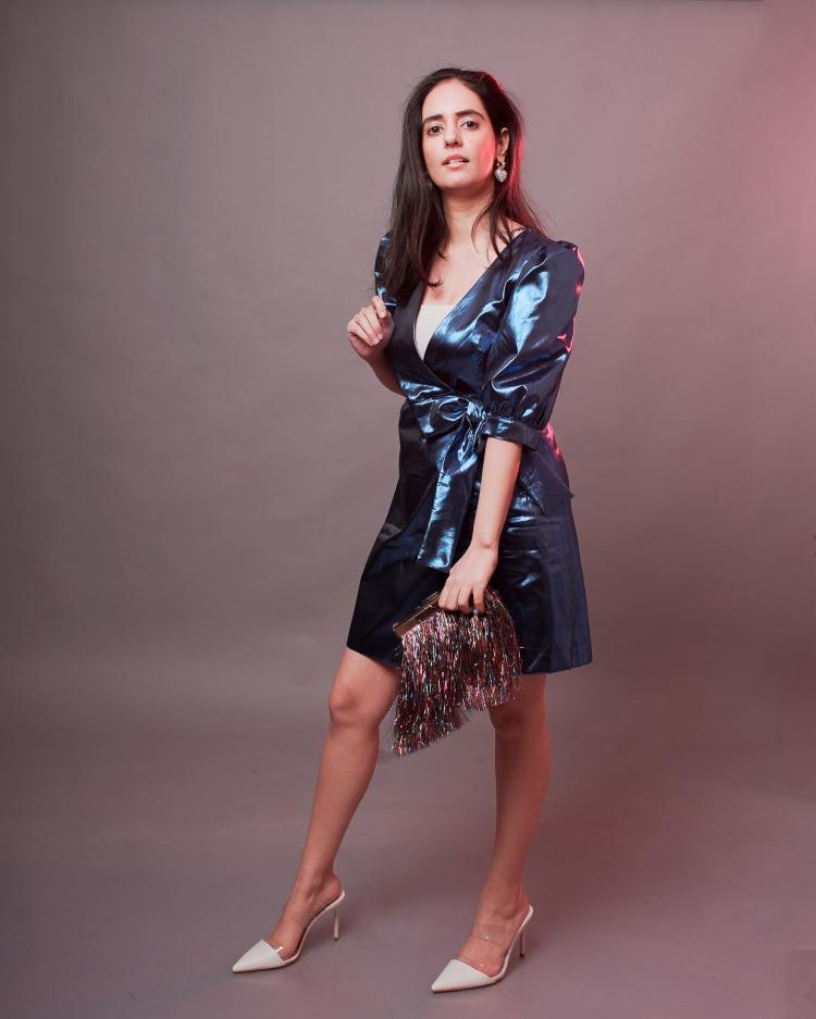 blue metallic dress zara 3