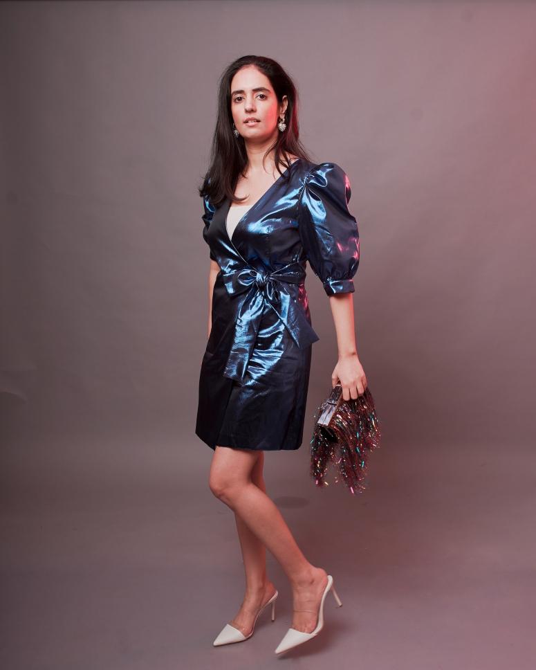 blue metallic dress zara 4