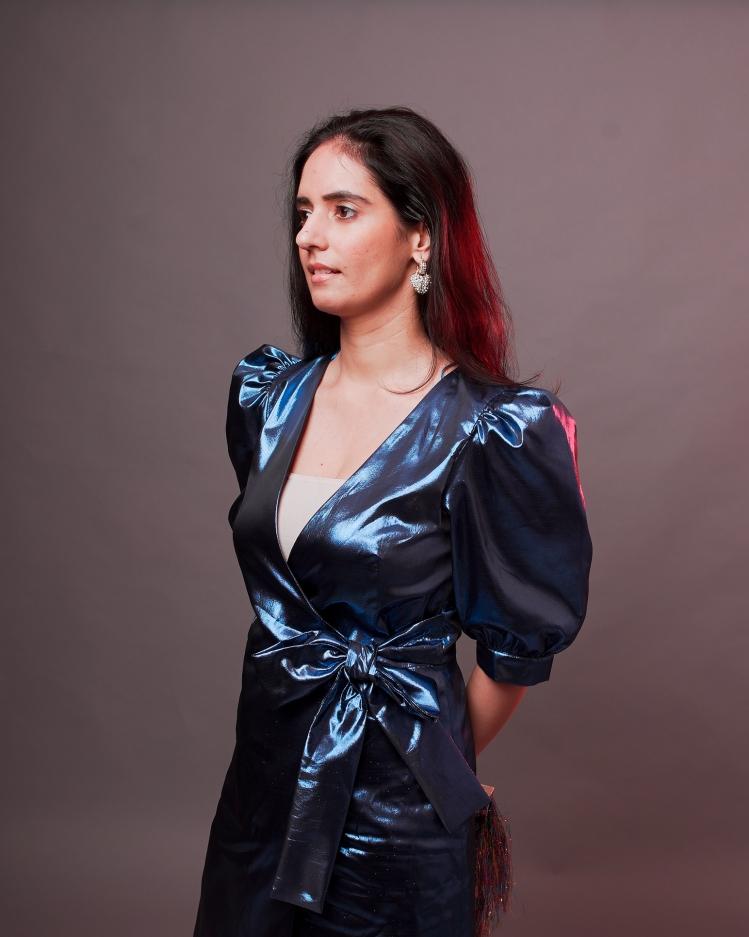 blue metallic dress zara 7