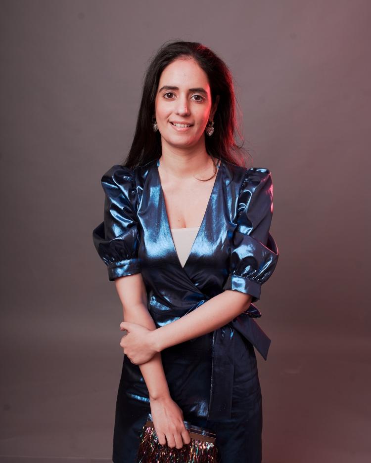 blue metallic dress zara 9