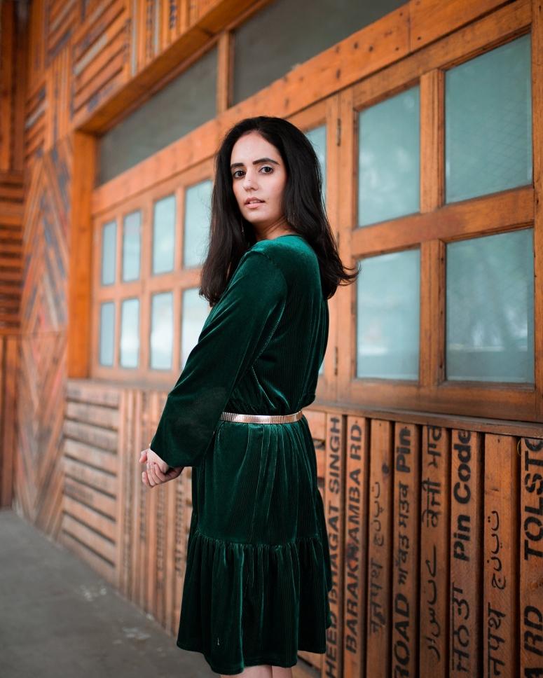 Green Velvet Dress 5