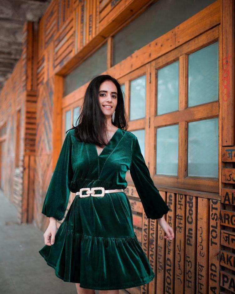 Green Velvet Dress 6