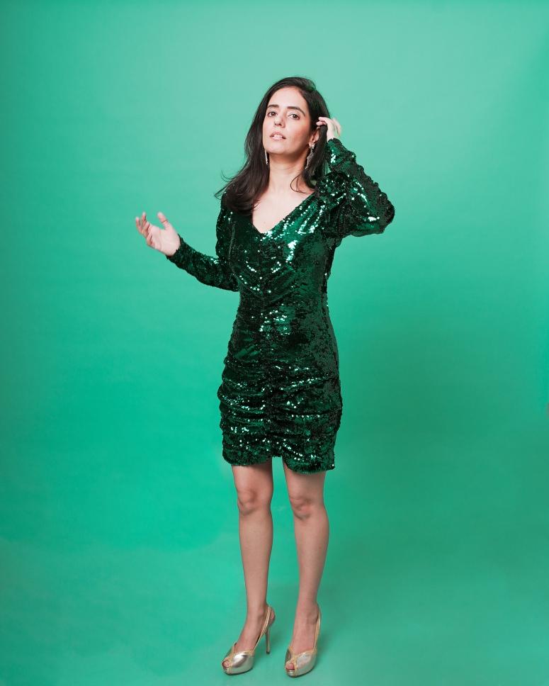 zara green sequin dress 2