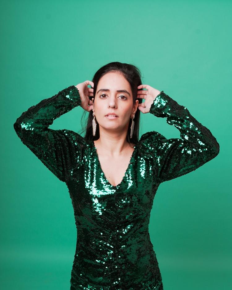 zara green sequin dress 3