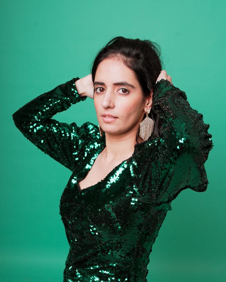 zara green sequin dress 4