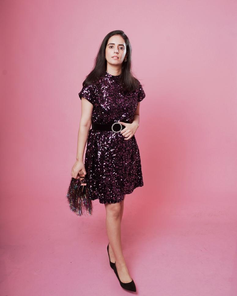 zara pink-purple sequinned dress 1