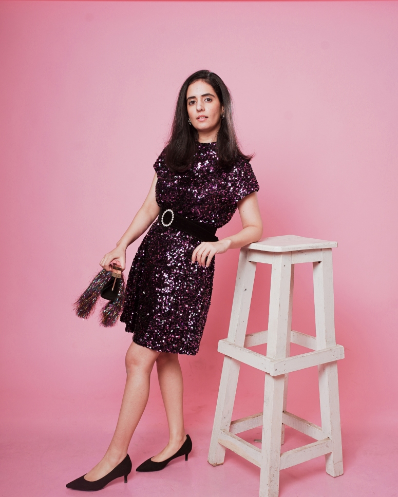 zara pink-purple sequinned dress 3