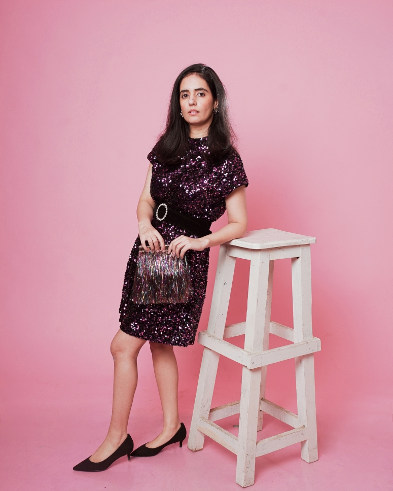 zara pink-purple sequinned dress 4